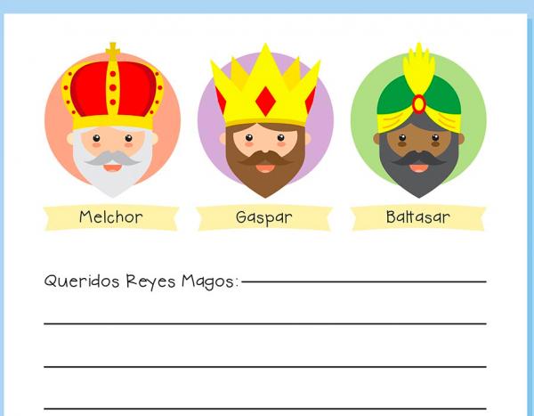 Carta Reyes Magos Infantil 4 años.